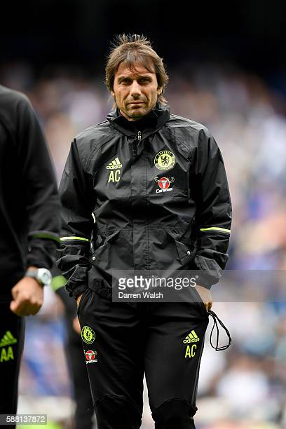 Antonio Conte of Chelsea during a training session at Stamford Bridge on August 10 2016 in London England