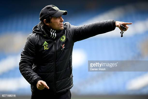 Antonio Conte of Chelsea during a training session at Stamford Bridge on December 2 2016 in London England