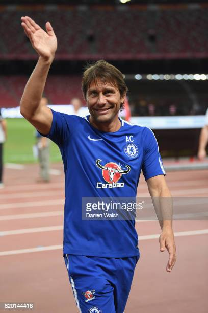 Antonio Conte of Chelsea during a training session at the Birds Nest Stadium on July 21 2017 in Beijing