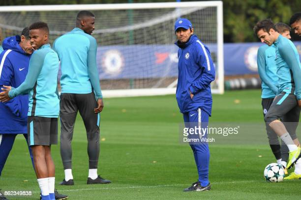 Antonio Conte of Chelsea during a training session at the Cobham Training Ground on October 17 2017 in Cobham England