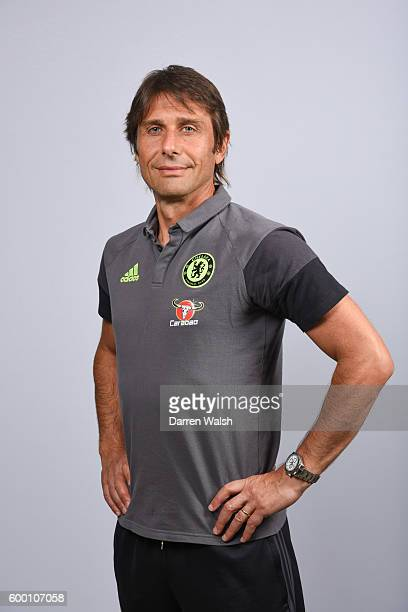 Antonio Conte of Chelsea during the Official Portrait session at Chelsea Training Ground on August 11 2016 in Cobham England