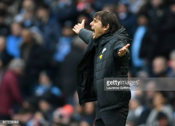 Antonio Conte of Chelsea shows his frustration during the Premier League match between Manchester City and Chelsea at Etihad Stadium on March 4 2018...
