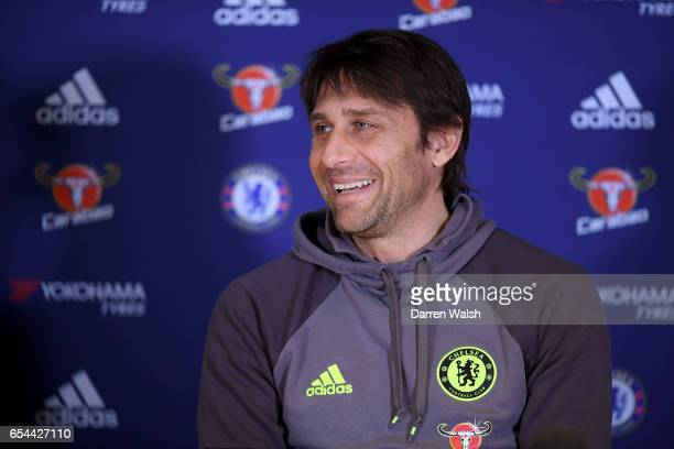 Antonio Conte of Chelsea smiles during a press conference at Stamford Bridge on March 17 2017 in London England