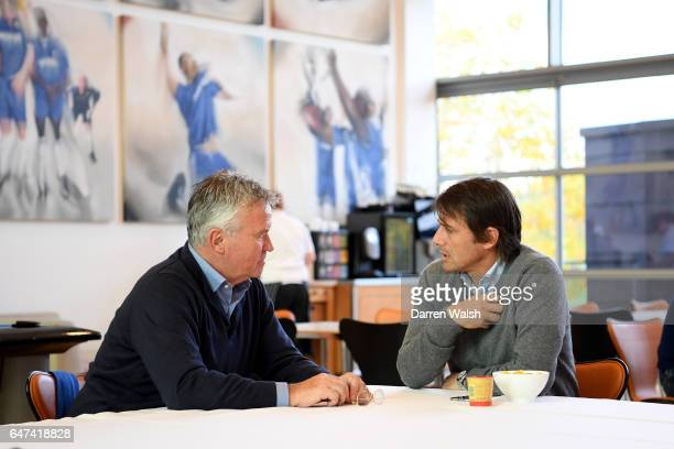 Antonio Conte of Chelsea with Guus Hiddink during his visit to the Chelsea Training Ground on November 4, 2016 in Cobham, England.