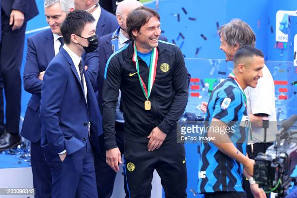 Antonio Conte of FC Internazionale and Steven Zhang look on during the Serie A match between FC Internazionale Milano and Udinese Calcio at Stadio...