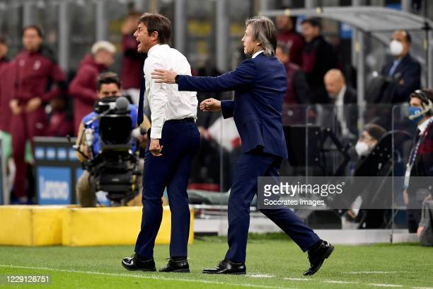 Antonio Conte of Inter Milan disappointed during the Italian Serie A match between Internazionale v AC Milan at the San Siro on October 17 2020 in...