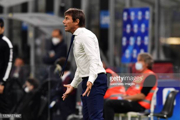 Antonio Conte of Inter Milan during the Italian Serie A match between Internazionale v AC Milan at the San Siro on October 17 2020 in Milan Italy