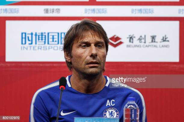 Antonio Conte reacts during prematch press conference at Birds Nest on July 21 2017 in Beijing China