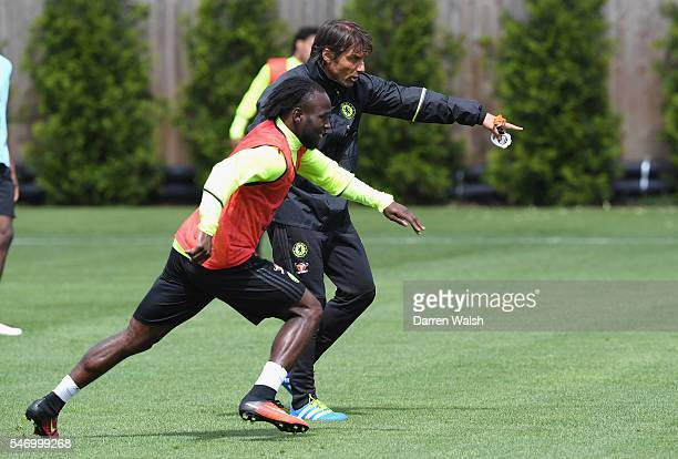 Antonio Conte Victor Moses at Chelsea Training Ground on July 13 2016 in Cobham England
