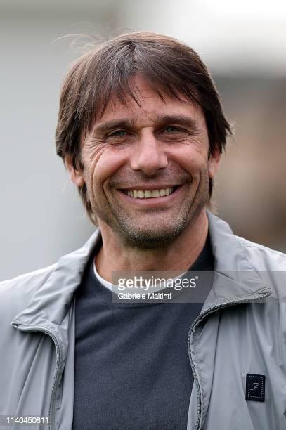 Antonio Conte visits Empoli FC training session on April 30 2019 in Empoli Italy