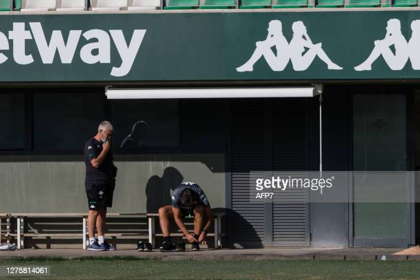 Antonio Cordon Sports Director of Real Betis and Manuel Pellegrini head coach prepares for the Real Betis Balompie training session at the Luis del...