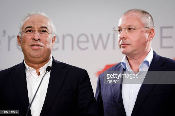 Antonio Costa Prime Minister of Portugal and Sergei Stanishev PES President in the course of the PES party congress on December 02 2017 in Lisbon...