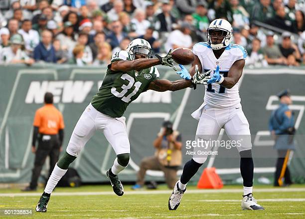Antonio Cromartie of the New York Jets breaks up a pass inended for Dorial GreenBeckham of the Tennessee Titans in the third quarter during their...