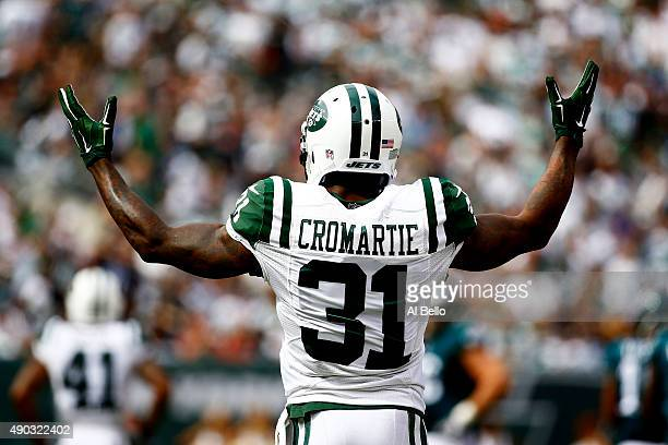 Antonio Cromartie of the New York Jets reacts in the second quarter against the Philadelphia Eagles at MetLife Stadium on September 27 2015 in East...