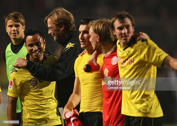Antonio da Silva and Head coach Juergen Klopp of Dortmund celebrate the 20 victory after the Bundesliga match between FSV Mainz 05 and Borussia...