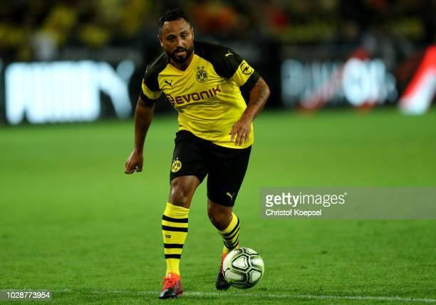 Antonio da Silva of Borussia Dortmund Allstars runs with the ball during the Roman Weidenfeller Farewell Match between Borussia Dortmund Allstars and...