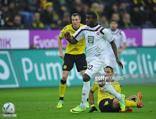 Antonio Da Silva of Dortmund challenges Dorge Kouemaha of Kaiserslautern during the Bundesliga match between Borussia Dortmund and 1 FC...