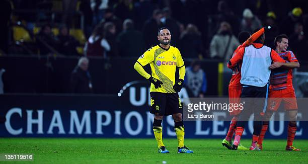 Antonio da Silva of Dortmund looks dejected after loosing the UEFA Champions League group F match between Borussia Dormtund and Olympique de...