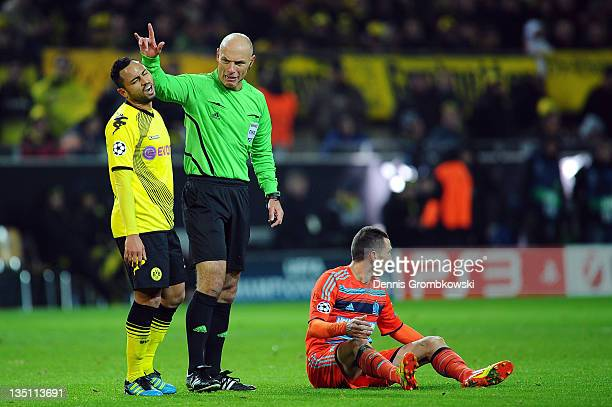 Antonio da Silva of Dortmund reacts after being urged by referee Howard Webb during the UEFA Champions League group F match between Borussia Dortmund...