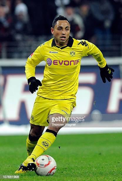 Antonio da Silva of Dortmund runs with the ball during the Bundesliga match between Eintracht Frankfurt and Borussia Dortmund at Commerzbank Arena on...