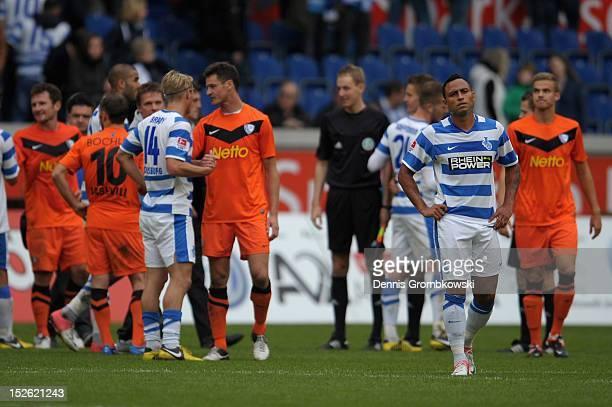 Antonio da Silva of Duisburg looks dejected after the Second Bundesliga match between MSV Duisburg and VfL Bochum at SchauinslandReisenArena on...