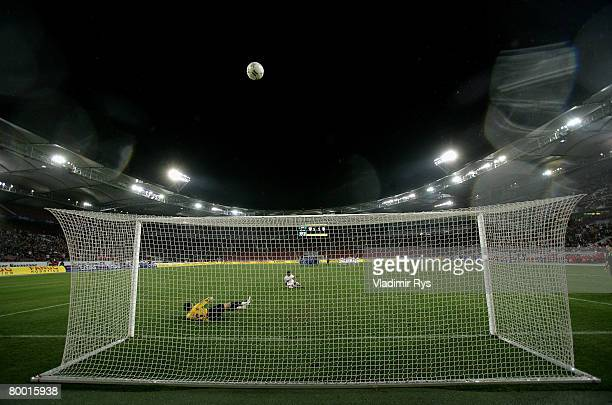 Antonio da Silva of Stuttgart misses a penalty kick against Vasili Khamutouski of Jena during the DFB Cup quarterfinal match between VfB Stuttgart...