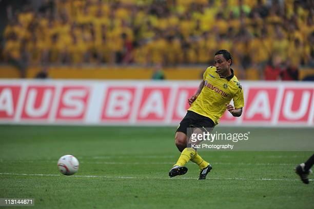 Antonio da Silva passes the ball at Borussia Park Stadium on April 23 2011 in moenchengladbach Germany