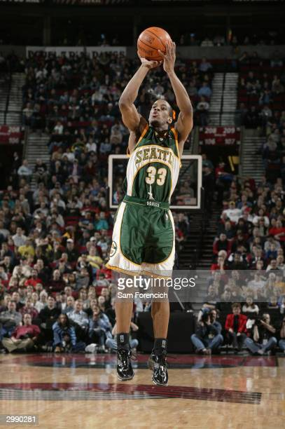 Antonio Daniels of the Seattle Sonics shoots a jumper during the game against the Portland Trail Blazers at the Rose Garden on February 8 2004 in...