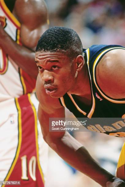 Antonio Davis of the Indiana Pacers rests against the Atlanta Hawks during a game played circa 1990 at the Omni in Atlanta Georgia NOTE TO USER User...