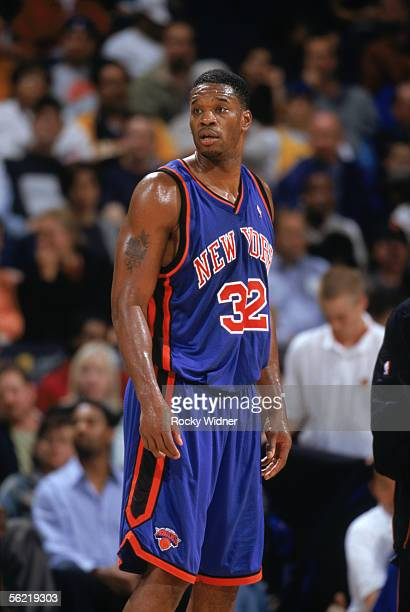Antonio Davis of the New York Knicks looks on during a game against the Golden State Warriors at The Arena in Oakland on November 11 2005 in Oakland...