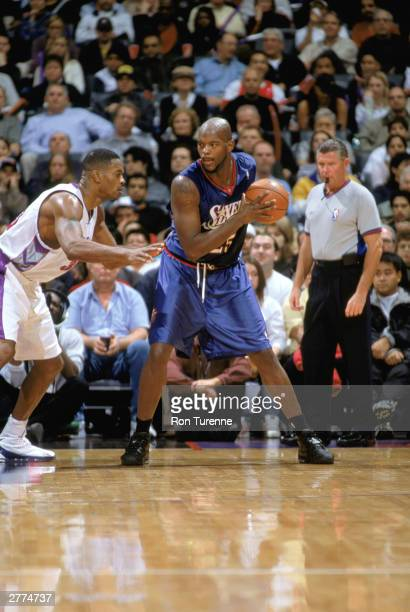 Antonio Davis of the Toronto Raptors defends Marc Jackson of the Philadelphia 76ers during the game on November 19 2003 at Air Canada Centre in...
