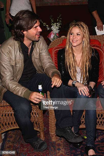 Antonio De La Rua and Shakira attend the Rolling Stone cover and release party for new album 'She Wolf' at The Bowery Hotel on November 9 2009 in New...
