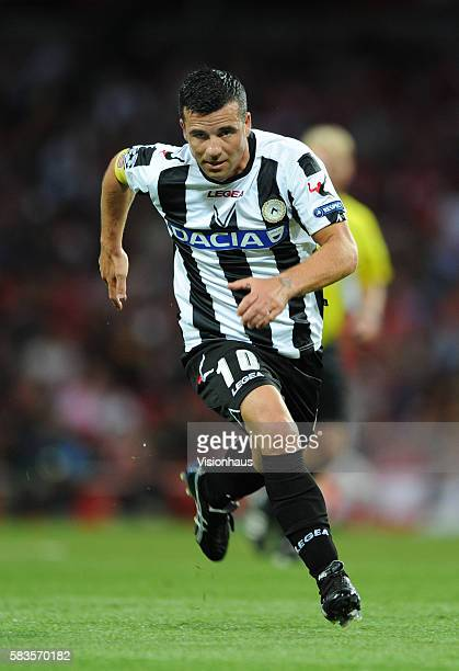 Antonio De Natale of Udinese Calcio during the UEFA Champions League Playoff Round 1st Leg match between Arsenal and Udinese at the Emirates Stadium...