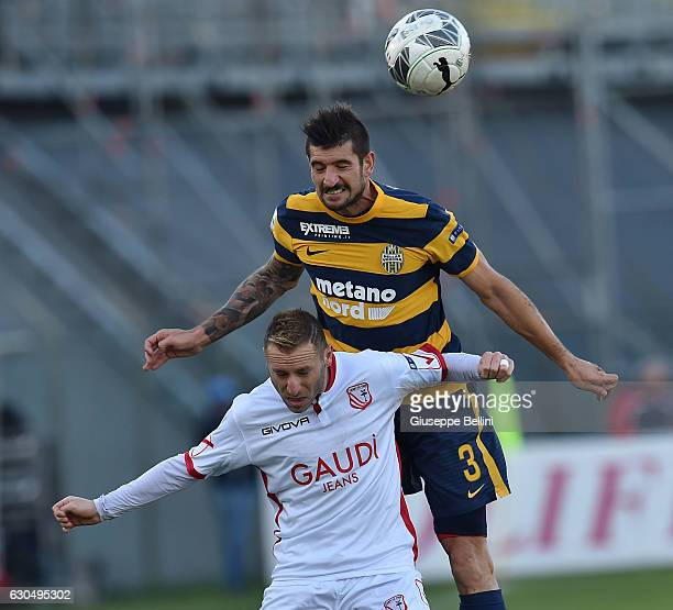 Antonio Di Gaudio of Carpi FC and Eros Pisano of Hellas Verona FC in action during the Serie B match between Carpi FC and Hellas Verona FC at Stadio...
