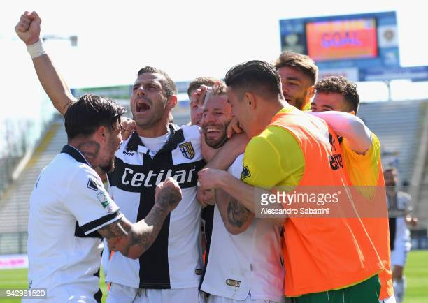 Antonio Di Gaudio of Parma Calcio celebrates after scoring his team second goal during the serie B match between Parma Calcio and Frosinone Calcio at...