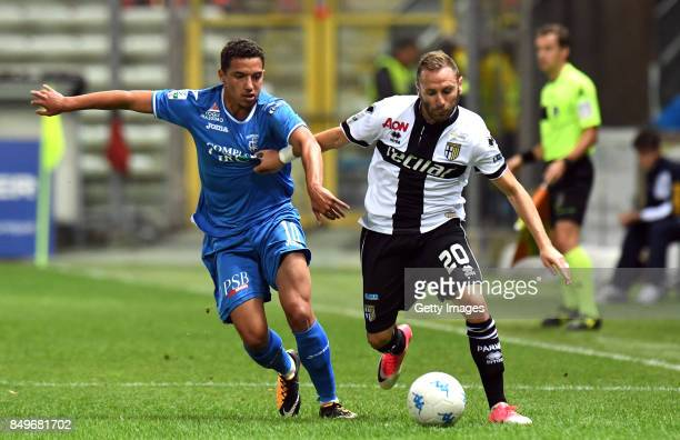 Antonio Di Gaudio of Parma Calcio competes for the ball whit Ismael Bennacer of Empoli fc during the Serie B match between Parma Calcio and Empoli FC...