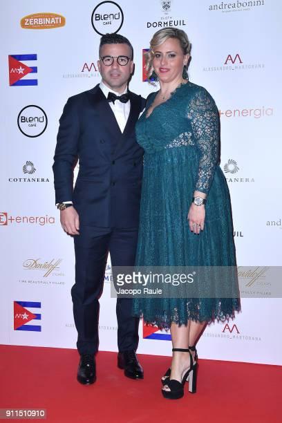 Antonio Di Natale and Ilenia Betti attend the Alessandro Martorana Party on January 28 2018 in Milan Italy