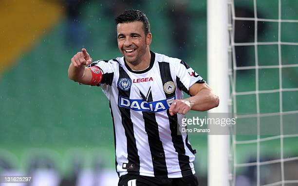 Antonio Di Natale of Udinese Calcio celebrates after scoring his team's second team during the Serie A match between Udinese Calcio and AC Siena at...