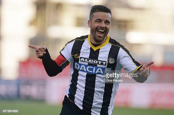 Antonio Di Natale of Udinese Calcio celebrates after scoring his opening goal during the Serie A match between Udinese Calcio and Atalanta BC at...