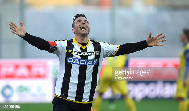 Antonio Di Natale of Udinese Calcio celebrates after scoring his opening goal and his 200th goal in Serie A during the Serie A match between Udinese...