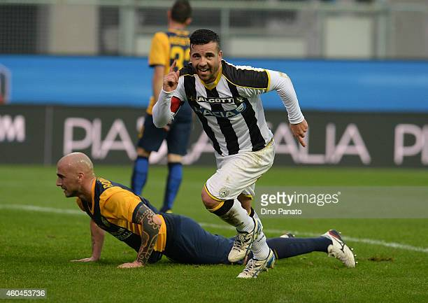 Antonio Di Natale of Udinese Calcio celebrates after scoring his opening goal during the Serie A match between Udinese Calcio and Hellas Verona FC at...