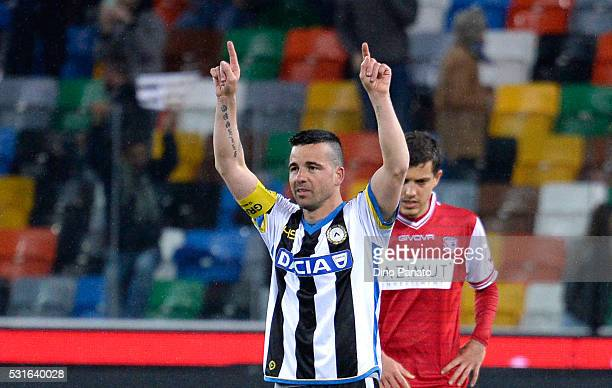 Antonio Di Natale of Udinese Calcio celebrates after scoring his team's first goal from the penalty spot the Serie A match between Udinese Calcio and...
