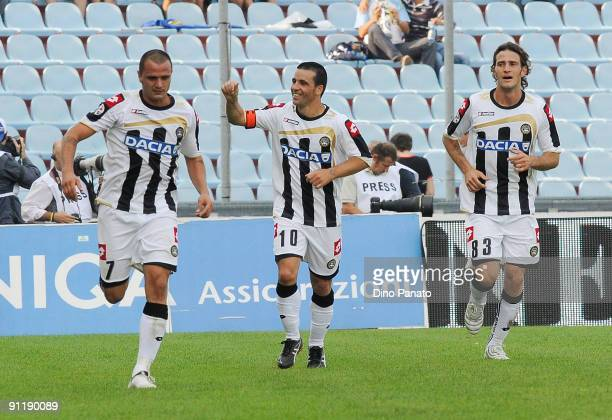 Antonio Di Natale of Udinese Calcio celebrates after scoring their first goal during the Serie A match between Udinese Calcio and Genoa CFC at Stadio...