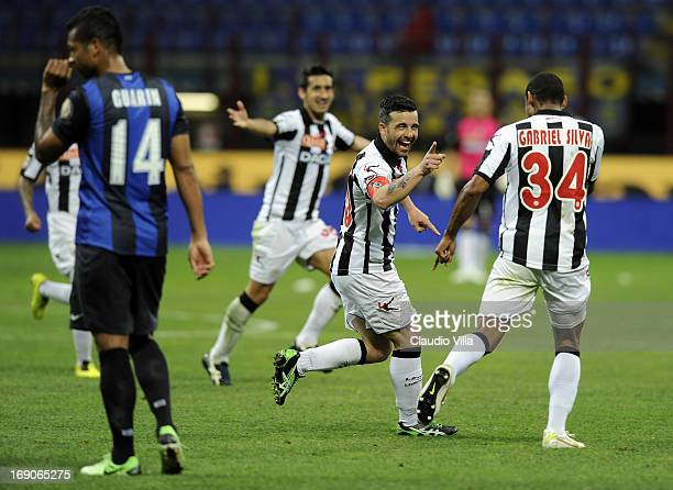 Antonio Di Natale of Udinese Calcio celebrates scoring the third goal during the Serie A match between FC Internazionale Milano and Udinese Calcio at...