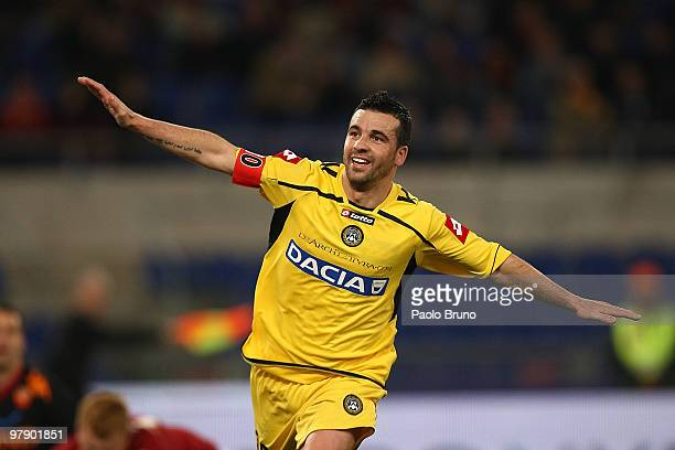 Antonio Di Natale of Udinese Calcio celebrates the second goal during the Serie A match between AS Roma and Udinese Calcio at Stadio Olimpico on...