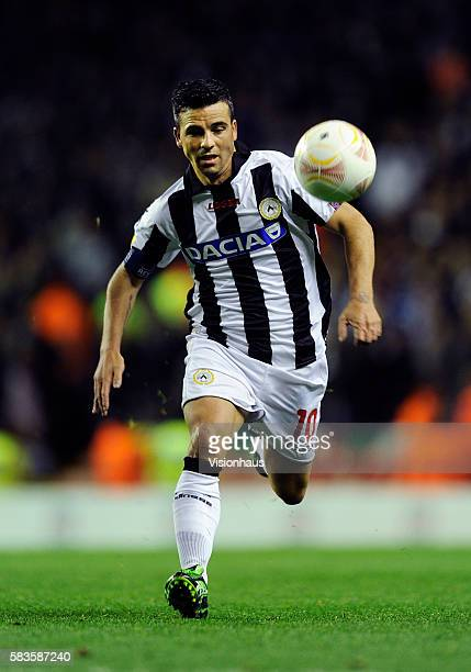 Antonio Di Natale of Udinese Calcio in action during the UEFA Europa League Group A match between Liverpool and Udinese Calcio at Anfield in...