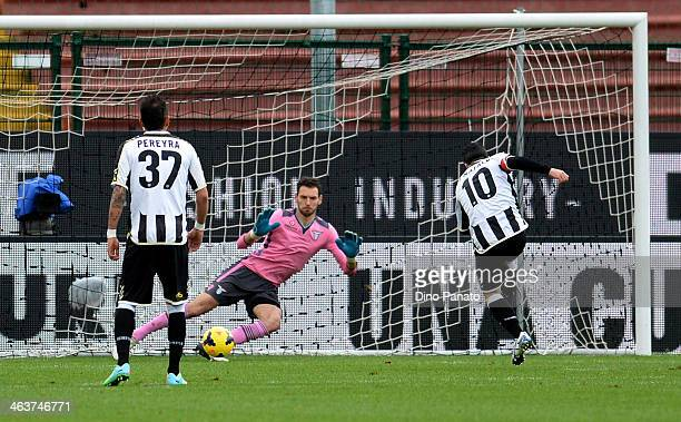 Antonio Di Natale of Udinese Calcio scores his opening goal from the penalty spot during the Serie A match between Udinese Calcio and SS Lazio at...