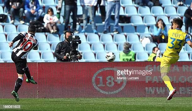 Antonio Di Natale of Udinese Calcio scores his second goal during the Serie A match between Udinese Calcio and AC Chievo Verona at Stadio Friuli on...