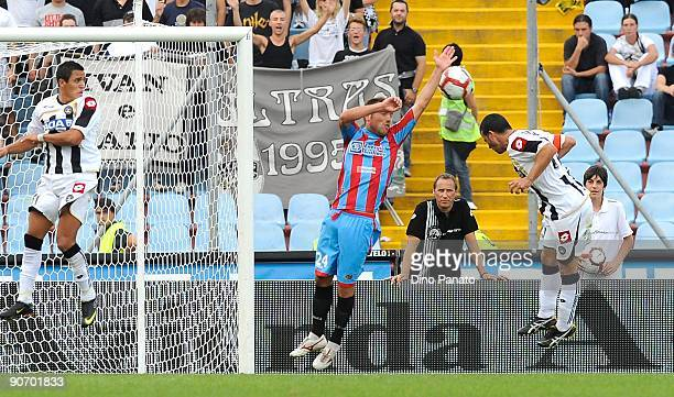 Antonio Di Natale of Udinese Calcio scores Udinese's second goal during the Serie A match between Udinese Calacio and Catania Calcio at Stadio Friuli...