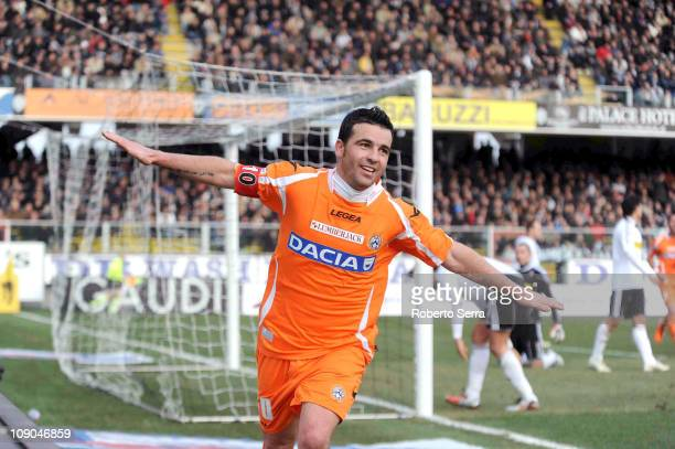 Antonio Di Natale of Udinese celebrate his second goal during the Serie A match between AC Cesena and Udinese Calcio at Dino Manuzzi Stadium on...